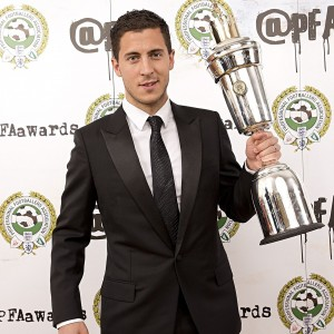 Eden Hazard with the PFA Player of the Year trophy following a ceremony in central London on Sunday